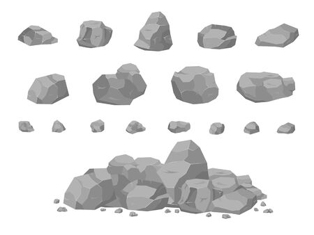 Set of stones in the style of 3D isomerism. Stones of different shapes for web design. Rock stone set cartoon. Stones and rocks