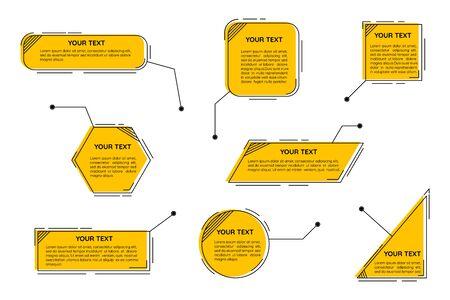 Titres de légendes numériques. Modèle de légendes futuristes, zones de texte de ligne numérique et jeu d'étiquettes de légende. Vecteurs