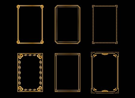 Vintage gold photo frame. Invitation frame. Borders standard rectangle proportions backgrounds vintage design elements set