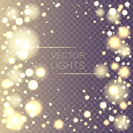 Dust white. Sparkling magical dust particles. Magic concept. Izolated bright bokeh effect on a transparent background. Blurred light frame.