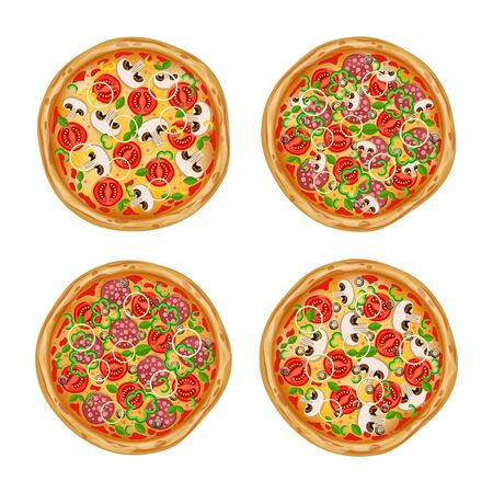 Set of four pizzas with different ingredients. Top view pizza. Pizza in cartoon style. Illustration