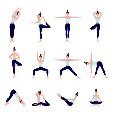 Set of yoga postures female figures for Infographic Yoga poses for best digestion in flat design. Woman figures exercise in blue sportswear and black yoga pants. Spiritual practice and physical activity.  Vectores