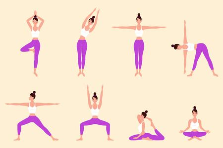 Woman character is training different types of sports. Female yoga. Vector illustration of beautiful cartoon woman
