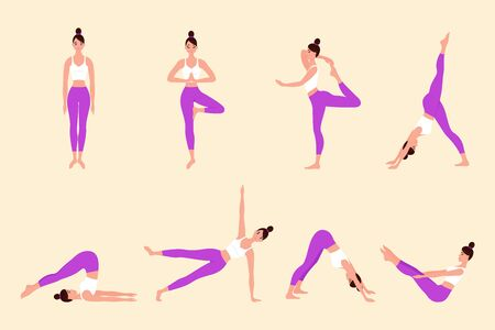 Different poses of yoga. Collection of young woman performing physical exercises. Bundle of female cartoon character