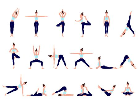 Healthy lifestyle. Collection of female cartoon characters demonstrating various yoga positions. Woman figures exercise in blue sportswear and black yoga pants 벡터 (일러스트)