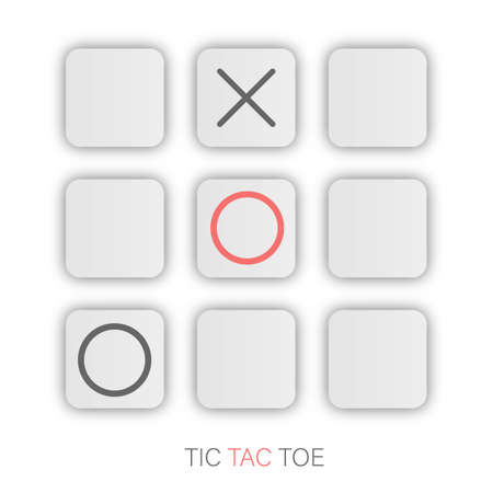 Tic tac toe XO icon on White Pads with shadow. Noughts and crosses board game icon isolated. Ilustração