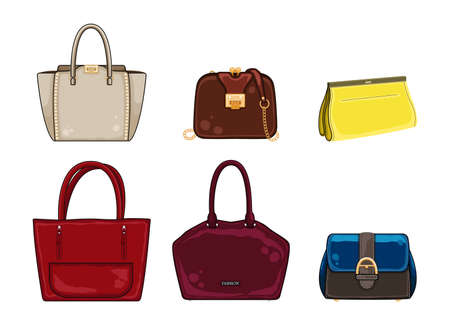 Woman color bags Designer Ladies Handbag collection. Different stylish leather and suede bags, trendy casual style handbags