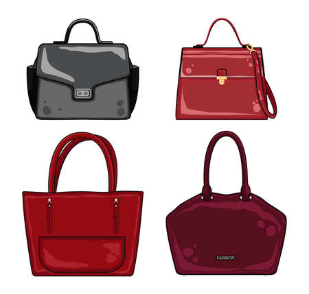 Collection of women bags. Fashion bags of different types.