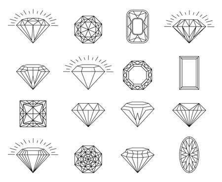Diamond brilliant icon set. diamond jewelry collection. Star sparkling stars glittery Sparkle glowing, light glittery