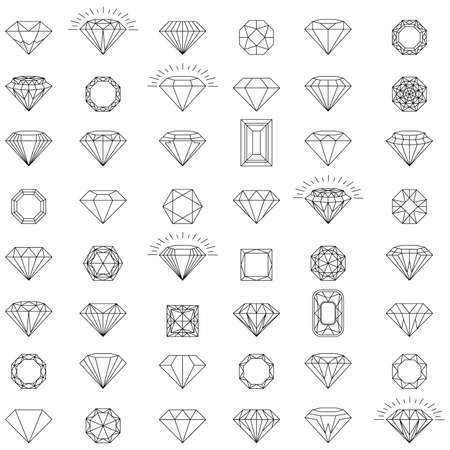 Diamond jewelry luxury quality gifts.  Set of vector icons. Black, linear and color luxury symbols. Illustration