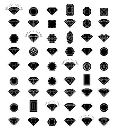 Set of black diamonds in a flat style isolated on white background. Jewels and diamonds collection. Line with Editable stroke