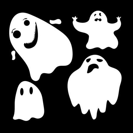 Collection of simple flat ghosts. set of cute ghost creation kit, changeable face, flat design vector for halloween