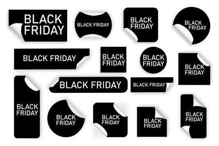 Black friday tags on white background. Black price stickers. Special offer. Vector illustration