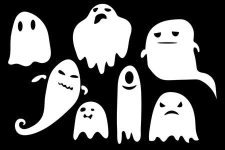 Collection of eerie flying halloween ghosts. Halloween ghosts. Party celebrate Halloween night holiday. Monochrome ghost apparition spook horror set. Ghost shadow funny. ghost sheet for halloween