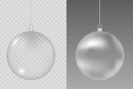 Glass Christmas toy on a transparent background. Xmas glass ball. Stocking element decorations. Illustration