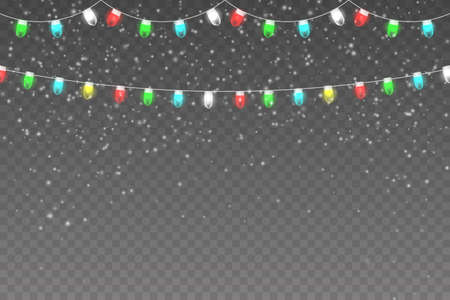 Christmas, Snowy background with light garlands, falling snow, snowflakes, snowdrift. White snow flakes falling and Xmas garlands strings.