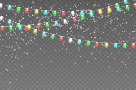 Snowy night with light garlands. Christmas lights isolated on transparent background.