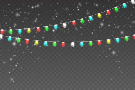 Snowy night with light garlands. Christmas lights isolated on transparent background. Glowing lights for Xmas