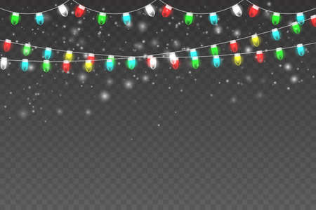 Christmas, Snowy background with light garlands, falling snow, snowflakes, snowdrift. White snow flakes falling and Xmas garlands strings. Vector illustration EPS10