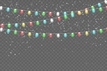 Snowy night with light garlands. Christmas lights isolated on transparent background. Glowing lights for Xmas Holiday cards, banners, posters, web design. Illustration