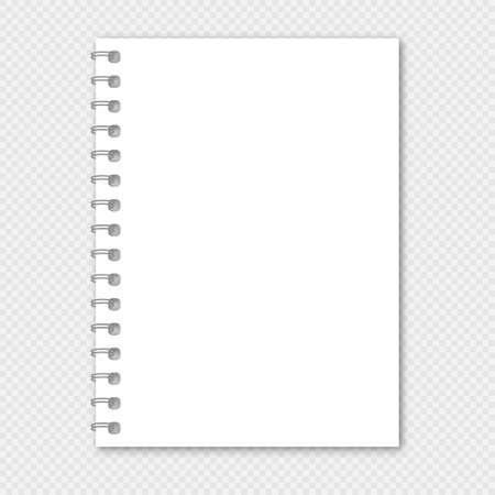 Notebook vector mockup. Realistic spiral notebook mockup, copybook blank cover. Vector Illustratie