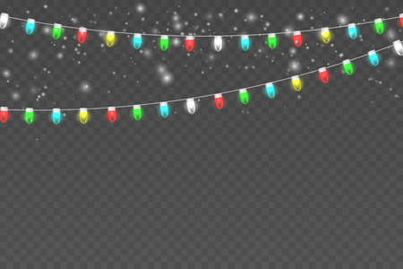 Snowy night with light garlands, falling snow, snowflakes. Winter background. Christmas scene. Illustration