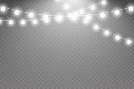 Fairy lights isolated on transparent background. Glowing lights for Holiday greeting card design. Garland decorations.