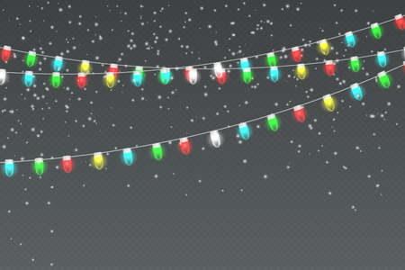 Snowy night with light garlands, falling snow, snowflakes. Holiday winter landscape for Merry Christmas. Winter background. Christmas scene.