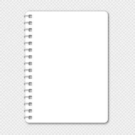 Blank closed realistic spiral notepad mockup isolated on transparent background. Vector illustration