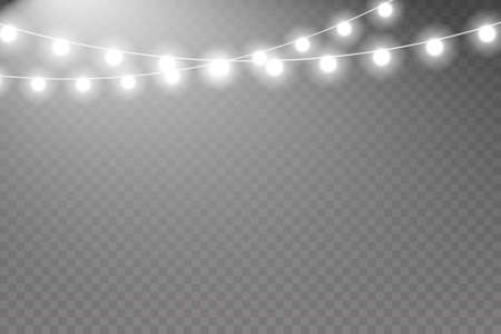 Fairy lights. Glowing garland. Fairy lights isolated realistic design elements. Xmas glowing lights.