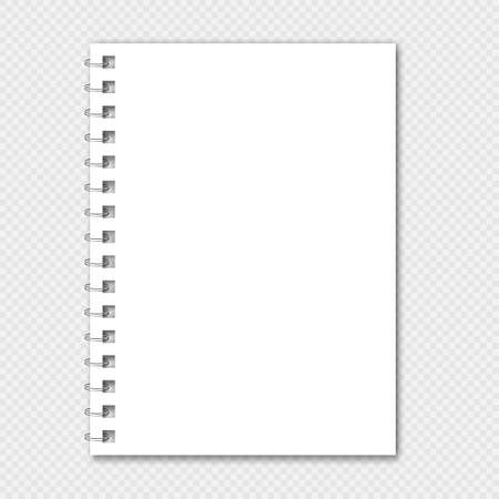 Notebook mockup with spiral. White notepad.  Clear notepad front page or clean page with shadow