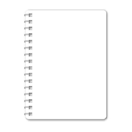Blank realistic spiral notepad mockup isolated on white background. Blank diary with cover for note. Template of A5 organizer with paper and coil of rings.