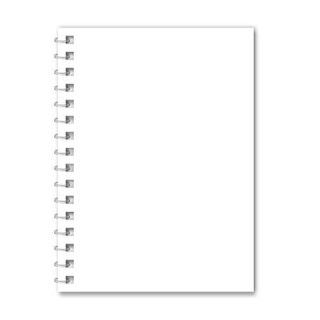 Notebook mockup with spiral. White notepad. Clear notepad front page or clean page with shadow. Vector illustration EPS10
