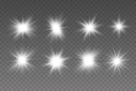 White glowing light explodes on a transparent background. Glowing lights effect, flare, explosion and stars. Sparkling magical dust particles.