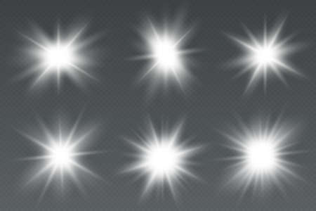Glowing light effect stars bursts with sparkles. Special effect isolated on transparent background Illustration