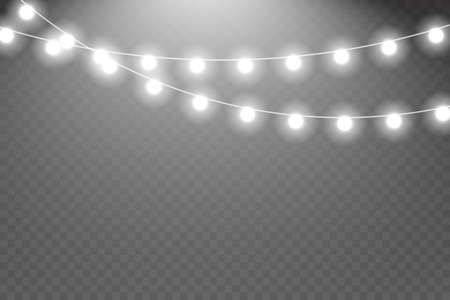 Glowing garland.Fairy lights isolated realistic design elements. Vector illustration