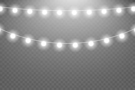Fairy lights isolated on transparent background.  Glowing lights for Holiday cards, banners, posters, web design. Garlands decorations.