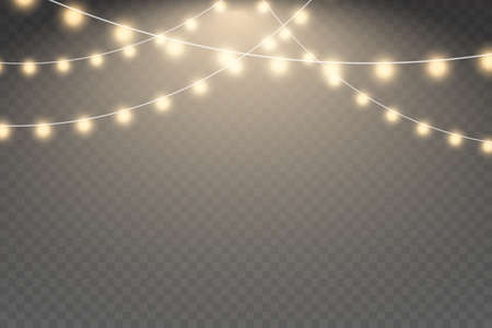 Xmas glowing garland. Glowing light bulbs Christmas and New Year realistic garlands