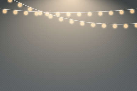 Christmas lights isolated on transparent background. Christmas garlands string.