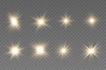 Shining star, the sun particles and sparks with a highlight effect, golden bokeh lights glitter and sequins. Light effect, golden glowing flash with gold rays and lights. Illustration