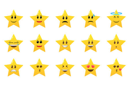 Collection of difference emoticon icon of cute star cartoon. Smile faces with various facial expressions. Cute emoji symbols for internet chatting.