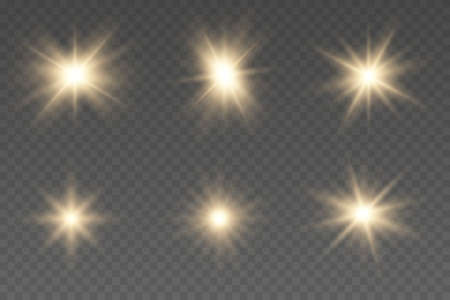 Shining star, the sun particles and sparks. Light effect, golden glowing flash with gold rays and lights.
