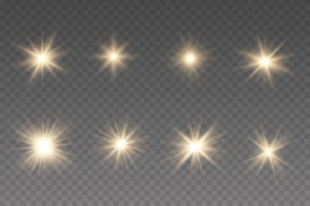 Set of yellow glowing light explodes. Glowing lights and stars. Isolated on black transparent background.