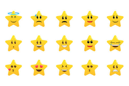Funny cartoon star character emotions set. Star emoji. Cute emoticons. Face icon. Collection of difference emoticon icon of cute star cartoon Illustration