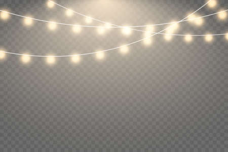Fairy lights isolated on transparent background. Set of golden xmas glowing garland with sparks.