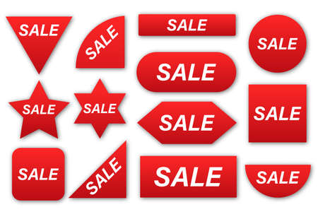 Price tags collection. Sale red labels isolated on white background.