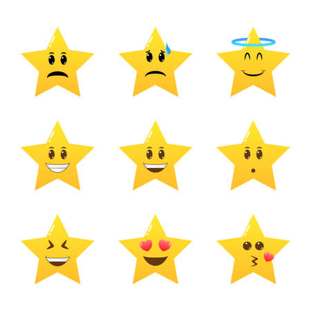 Cute yellow star, five point, character set. Funny social communication and mood message vector elements.