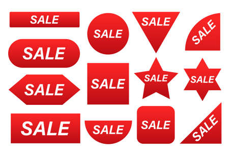 Price tags vector collection. Sale red labels isolated on white background.