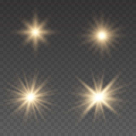 Light effect Bright Star. Beautiful light for illustration. Flashes and glares. Glowing lines.