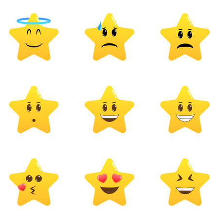 Cute cartoon star emoji set. Star shaped comic emoticons isolated set. Smile faces with various facial expressions. Collection of difference emoticon icon Illustration